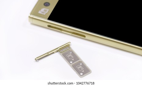 dual SIM card slot. Nano SIM and memory card with ejector pin and tray for Touchscreen phone