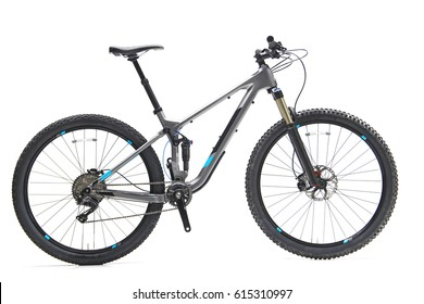 Dual Suspension Down Hill Mountain Bike With Blue Decal