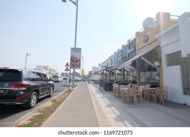 Duba,Dubai/United Arab Emirates - August 2018: Street Food Cafes in Jumeirah