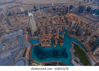 Dubai aerial view, Dubai Fountain, United Arab Emirates