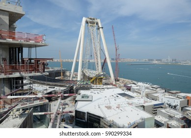 DUBAI - AIN DUBAI, BLUEWATERS ISLAND - 06.02.2017.  Construction of the worlds largest ferris wheel is in progress on Bluewaters Island, in Dubai, UAE.
