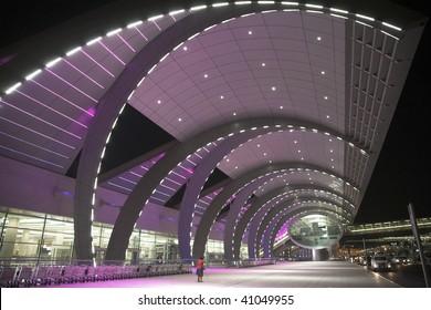 Dubai airport terminal by night