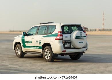 DUBAI AL MAKTOUM AIRPORT - 16 NOVEMBER: A police car is seen at the Dubai Airshow 2017 on 16 November 2017.