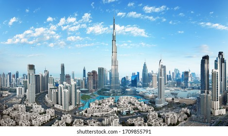 Dubai - amazing city center skyline with luxury skyscrapers, United Arab Emirates