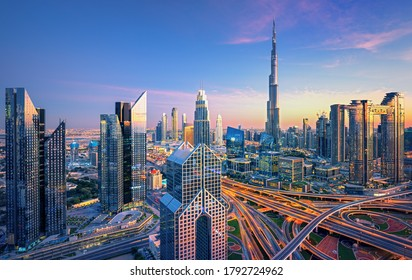 Dubai - amazing city skyline with luxury skyscrapers at sunset, United Arab Emirates
