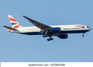 DUBAI - APRIL 20: A British Airways aircraft is landing at DXB airport as seen on April 20, 2018.