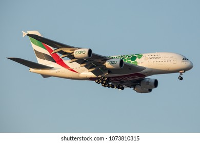 DUBAI - APRIL 20: An Emirates Airline aircraft is landing at DXB airport as seen on April 20, 2018.