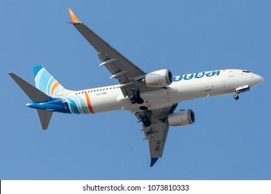 DUBAI - APRIL 20: A Flydubai aircraft is landing in DXB airport as seen on APRIL 20, 2018.