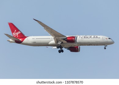 DUBAI - APRIL 20: A Virgin Atlantic aircraft is landing at DXB airport as seen on April 20, 2018.