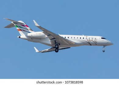 DUBAI - APRIL 21: A Business Jet aircraft is landing at DXB airport as seen on April 21, 2018.
