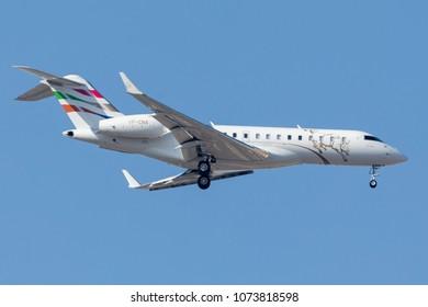 DUBAI - APRIL 21: A Business Jet aircraft is landing at DXB airport as seen on April 21, 2018.