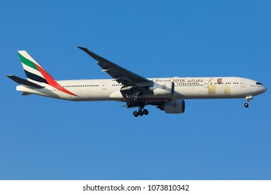 DUBAI - APRIL 21: An Emirates Airline aircraft is landing at DXB airport as seen on April 21, 2018.