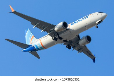 DUBAI - APRIL 21: A Flydubai aircraft is landing in DXB airport as seen on APRIL 21, 2018.
