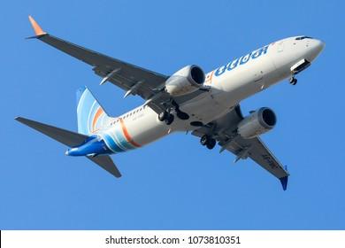 DUBAI - APRIL 21: A Flydubai aircraft is landing in DXB airport as seen on APRIL 21, 2018.