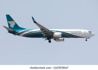 DUBAI - APRIL 21: A Oman Air aircraft is landing at DXB airport as seen on April 21, 2018.