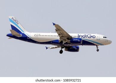 DUBAI - APRIL 25: An IndiGo Airline aircraft is landing at DXB airport as seen on April 25, 2018.