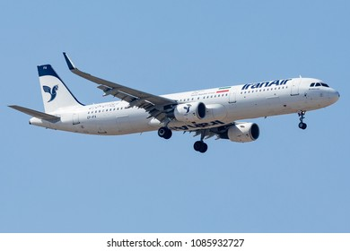 DUBAI - APRIL 25: An IranAir Airline aircraft is landing at DXB airport as seen on April 25, 2018.