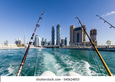 Dubai canal as seen on a fishing boat cruising over.