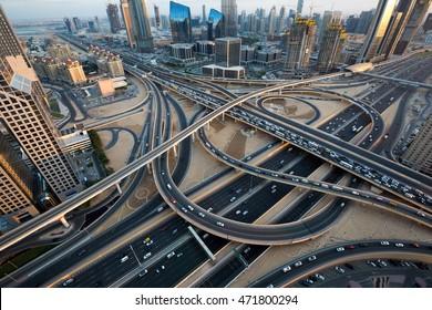 Dubai car traffic, busy roads, Interchange 1. Dubai roads, junction, intersection. Sheikh Zayed road. Dubai Downtown. United Arab Emirates. Dubai highways. Dubai construction. Dubai futuristic.