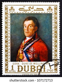 DUBAI - CIRCA 1967: a stamp printed in the Dubai shows Duke of Wellington, Painting by Francisco Goya, circa 1967