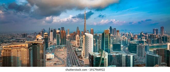 Dubai city center - amazing city skyline with luxury skyscrapers at sunrise, United Arab Emirates