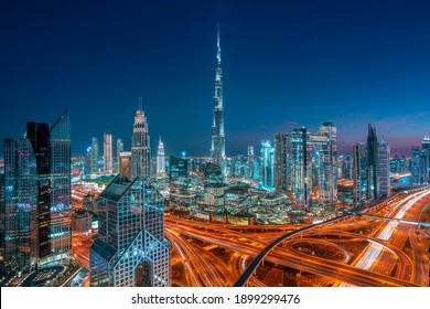 Dubai - city center skyline and bussy evening ruch hour traffic, United Arab Emirates