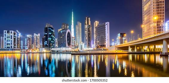 Dubai city center skyline at night, UAE, marina district