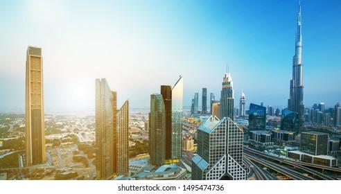 Dubai city center skyline at the sunrise, Dubai, United Arab Emirates