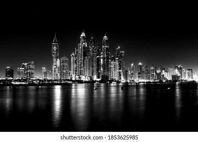 dubai city lights at night bw