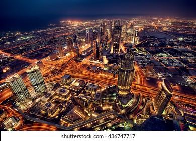 Dubai city lights. Night landscape.