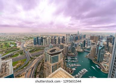 Dubai city scape, dubai marina, clouds, cloudy, towers, JLT, Dubai