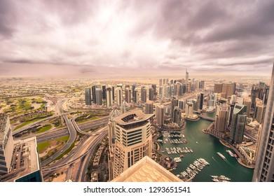 Dubai city scape, dubai marina, marina, sea, towers, JLT, clouds, cloudy