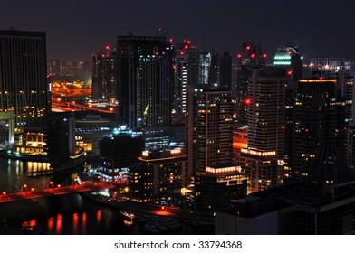 Dubai City Scape Night Scene