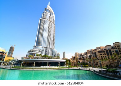DUBAI CITY, DUBAI- Sep 27: Burj Khalifa lake on Sep 27, 2014. The Burj Dubai lake is popular tourist attraction where tourist can take a boat ride in front of the Burj Khalifa skyscraper.
