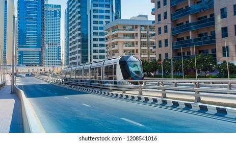 Dubai city tram on modern railway. United Arab Emirates