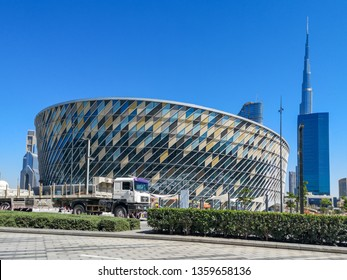 Dubai city walk, a modern new Cafes and restaurants in an outdoor retail complex - Dubai Coca Cola Arena The biggest arena in the middle east - Dubai, UAE - March 27, 2019