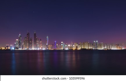 Dubai cityscape in the night
