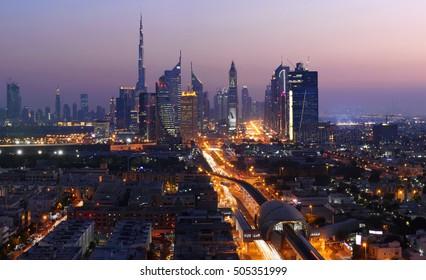 Dubai cityscape at night.