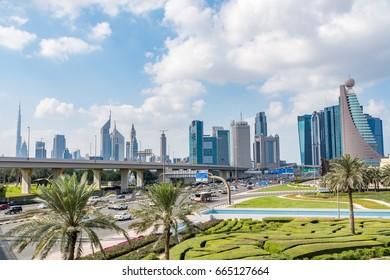 Dubai cityscape, view from Zabeel Park, United Arab Emirates