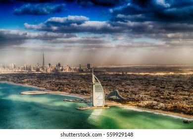 Dubai coastline from the air.