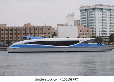 Dubai creek,uae - January 4,2018 :  modern ferry of dubai water transportation in the sea.