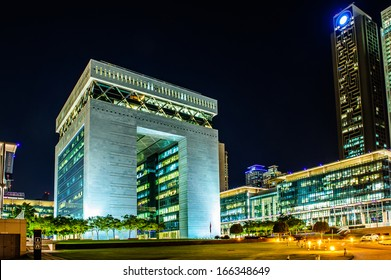 DUBAI -DECEMBER 07:The Gate - main building of Dubai International Financial center, the  fastest growing international financial center in Middle East. 07 December 2013 , Dubai, UAE.