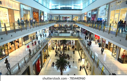 Dubai, December 1, 2017. Interior of Dubai Mall, Dubai, UAE. Dubai Mall is the largest mall in the world with world's famous retailers have their stores located inside the mall.