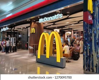 Dubai - December 29,2018: McDonald's at Dubai International Airport.McDonald's is a fast food restaurant chain that specializes burgers menu.