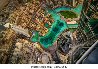 Dubai downtown aerial view by sunset, Dubai, United Arab Emirates