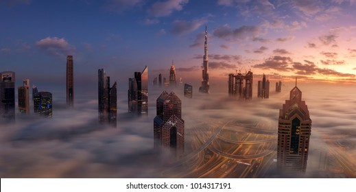 Dubai Downtown in beautiful fog
