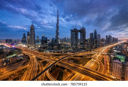 Dubai Downtown at the blue hour