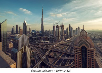 Dubai downtown in the evening