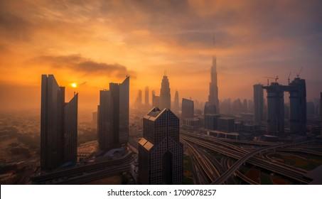 Dubai Downtown in the morning - Shutterstock ID 1709078257