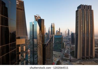 Dubai downtown skyline. Dubai skyscrapers. Iconic Dubai views. Modern city cityscape. Hotels, office and residential buildings. Financial center. Dubai construction. Tallest buildings.